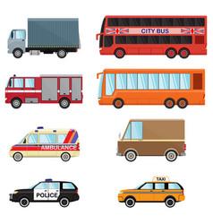 city transport set taxi bus truck minibus car vector image