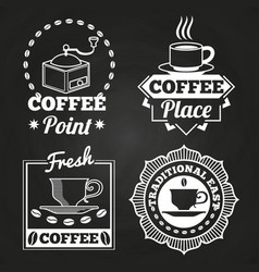 Coffee market shop and cafe label collection on vector