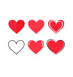 collection hand drawn red hearts on a white vector image
