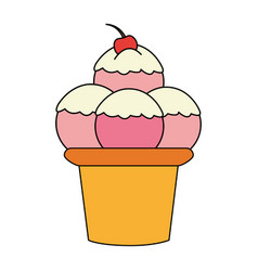 color image cartoon ice cream with three balls and vector image