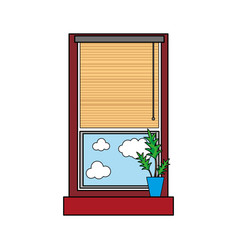 Colorful window with curtain blind open and plant vector