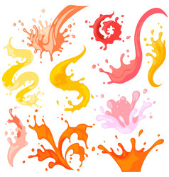 colourful splash set isolated on white background vector image