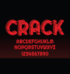 crack font design letters and numbers alphabet vector image