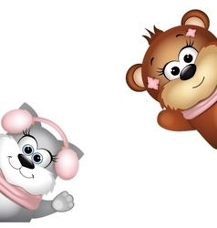 Cute bear and cat on a white background vector