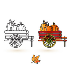 cute cart pumpkin and leaf thanksgiving icons vector image