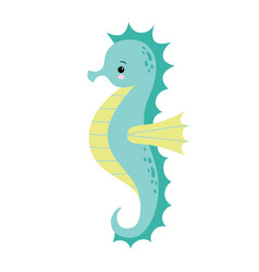 Cute cartoon sea horse isolated seahorse on a vector