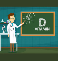 Doctor points to school board with vitamin d vector