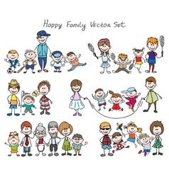 Doodle happy family sketch vector