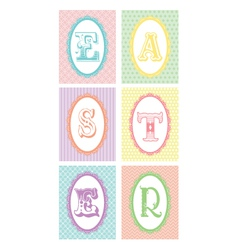 Easter monograms lace borders vector
