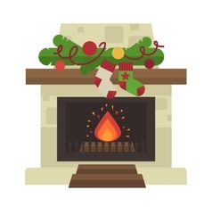 Fireplace Merry Christmas and harry New vector