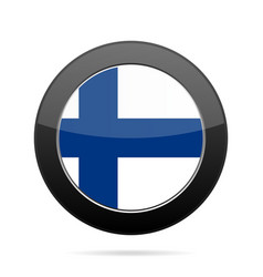 flag of finland shiny black round button vector image
