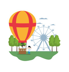 Funny air balloon entertainment with children vector
