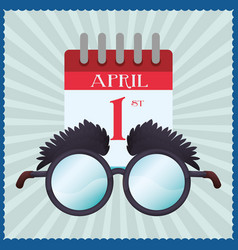funny glasses calendar april fools vector image