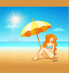 girl on tropical beach vector image
