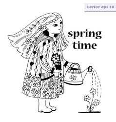 Girl with watering can vector