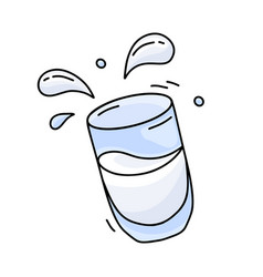Glass milk or water with spray falling clear vector