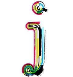 Grunge colorful font Letter j vector