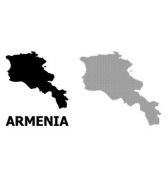 Halftone pattern and solid map armenia vector