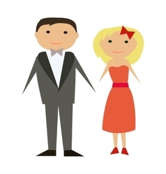 happy couple in flat style Man and woman vector image