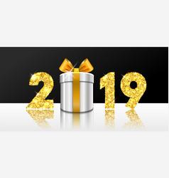happy new year card 3d gift box ribbon bow gold vector image