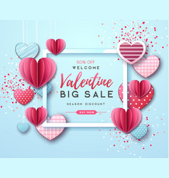 Happy valentines day background with love hearts vector