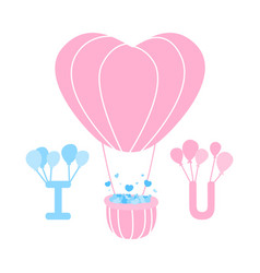 Heart balloons floating with alphabet i and u vector