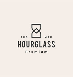 hourglass monoline hipster vintage logo icon vector image