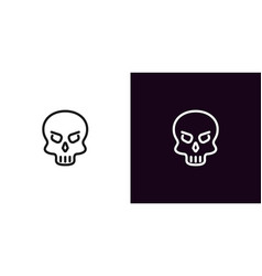 human skull in outline style vector image