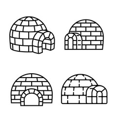 igloo icon set outline style vector image
