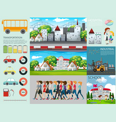 infographic design with people and different vector image