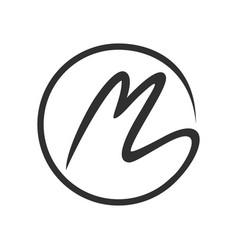 initial m stroke circle lettermark symbol design vector image