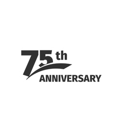 Isolated abstract black 75th anniversary logo on vector