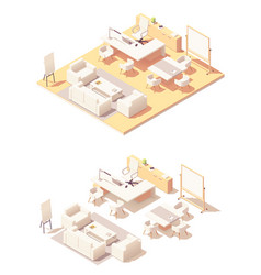 Isometric executive office interior vector