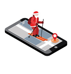 isometric santa claus skiing santa city mobile vector image