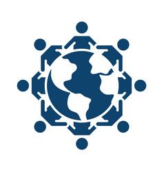 Kids holding hands around world silhouette icon vector