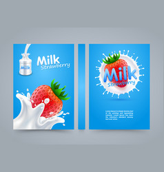 Label milk strawberry cover banner splashing vector