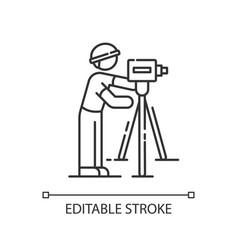 Land surveyor pixel perfect linear icon vector