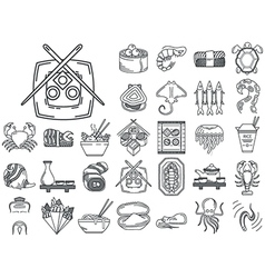 Line icons for japanese seafood menu vector image