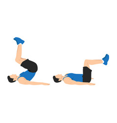Man doing reverse crunch exercise vector