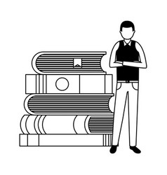 man with books stacked vector image