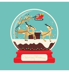 Merry christmas santa gifts with reindeers on the vector image