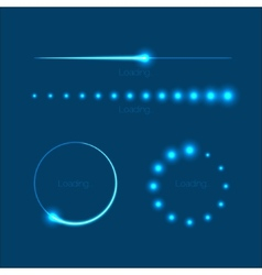 Modern glowing preloaders and progress bars vector