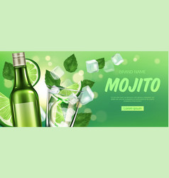 mojito bottle and glass with liquor lime and ice vector image