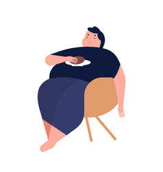 Obese young man fat boy sitting on chair concept vector