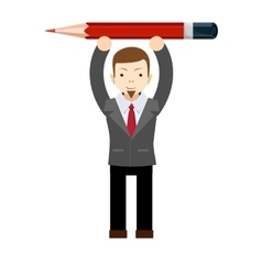 Office worker with pencil vector