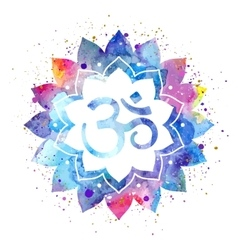 Om sign in lotus flower vector image