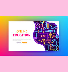 online education neon landing page vector image
