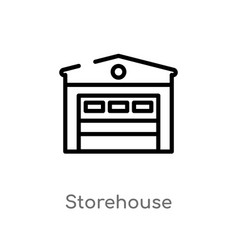 Outline storehouse icon isolated black simple vector