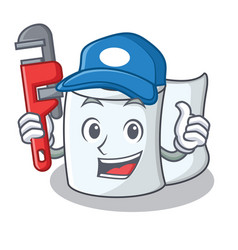 Plumber tissue character cartoon style vector
