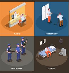 Prison jail isometric concept vector